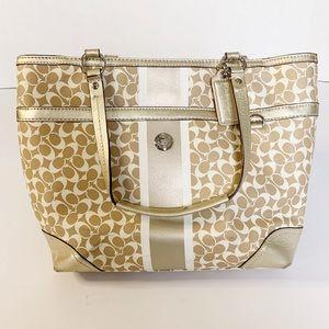 Coach | Purse tote bag tan, cream, gold